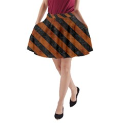 Stripes3 Black Marble & Brown Burl Wood (r) A Line Pocket Skirt