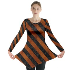 Stripes3 Black Marble & Brown Burl Wood (r) Long Sleeve Tunic
