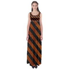 Stripes3 Black Marble & Brown Burl Wood (r) Empire Waist Maxi Dress
