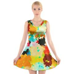 Lov1 V-Neck Sleeveless Skater Dress