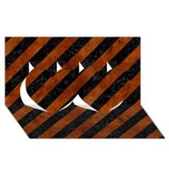 Stripes3 Black Marble & Brown Burl Wood Twin Hearts 3d Greeting Card (8x4)