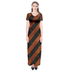 Stripes3 Black Marble & Brown Burl Wood Short Sleeve Maxi Dress