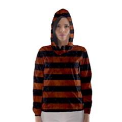 Stripes2 Black Marble & Brown Burl Wood Hooded Wind Breaker (women)