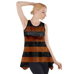 Stripes2 Black Marble & Brown Burl Wood Side Drop Tank Tunic