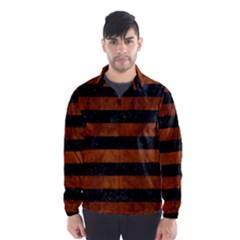Stripes2 Black Marble & Brown Burl Wood Wind Breaker (men)