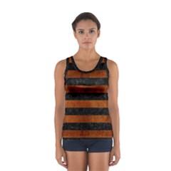 Stripes2 Black Marble & Brown Burl Wood Sport Tank Top