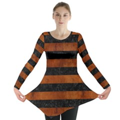 Stripes2 Black Marble & Brown Burl Wood Long Sleeve Tunic