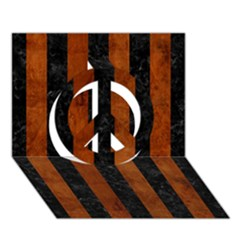 Stripes1 Black Marble & Brown Burl Wood Peace Sign 3d Greeting Card (7x5)
