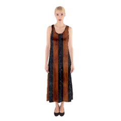 STR1 BK MARBLE BURL Sleeveless Maxi Dress