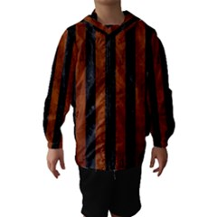 Stripes1 Black Marble & Brown Burl Wood Hooded Wind Breaker (kids)
