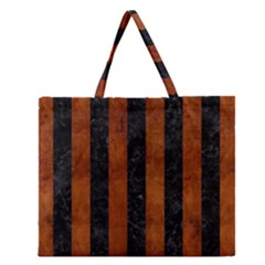Stripes1 Black Marble & Brown Burl Wood Zipper Large Tote Bag