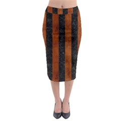 Stripes1 Black Marble & Brown Burl Wood Midi Pencil Skirt