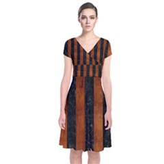 Stripes1 Black Marble & Brown Burl Wood Short Sleeve Front Wrap Dress