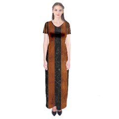 Stripes1 Black Marble & Brown Burl Wood Short Sleeve Maxi Dress