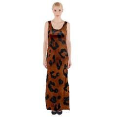 Skin5 Black Marble & Brown Burl Wood Maxi Thigh Split Dress