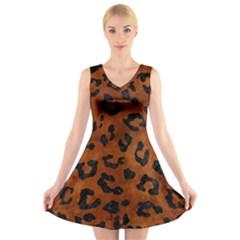Skin5 Black Marble & Brown Burl Wood V Neck Sleeveless Dress