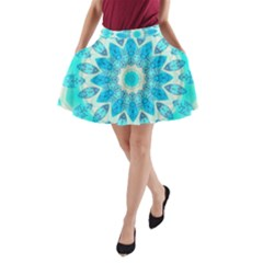 Blue Ice Goddess, Abstract Crystals Of Love A-Line Pocket Skirt