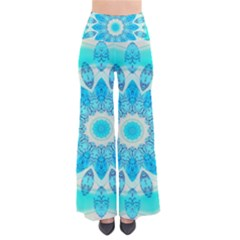 Blue Ice Goddess, Abstract Crystals Of Love Women s Chic Palazzo Pants