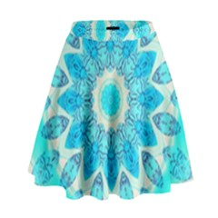 Blue Ice Goddess, Abstract Crystals Of Love High Waist Skirt