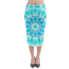 Blue Ice Goddess, Abstract Crystals Of Love Midi Pencil Skirt