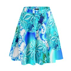 Blue Ice Crystals, Abstract Aqua Azure Cyan High Waist Skirt