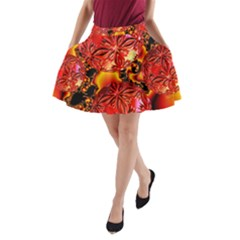 Flame Delights, Abstract Red Orange A-Line Pocket Skirt