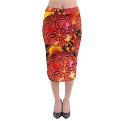Flame Delights, Abstract Red Orange Midi Pencil Skirt