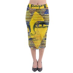 Conundrum II, Abstract Golden & Sapphire Goddess Midi Pencil Skirt