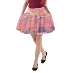 Glorious Skies, Abstract Pink And Yellow Dream A-Line Pocket Skirt