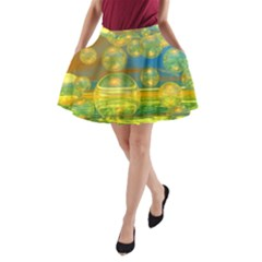 Golden Days, Abstract Yellow Azure Tranquility A-Line Pocket Skirt