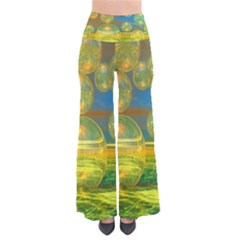 Golden Days, Abstract Yellow Azure Tranquility Women s Chic Palazzo Pants
