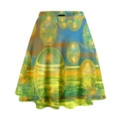 Golden Days, Abstract Yellow Azure Tranquility High Waist Skirt