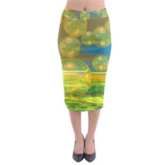 Golden Days, Abstract Yellow Azure Tranquility Midi Pencil Skirt