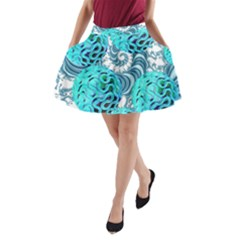 Teal Sea Forest, Abstract Underwater Ocean A Line Pocket Skirt
