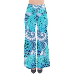 Teal Sea Forest, Abstract Underwater Ocean Women s Chic Palazzo Pants