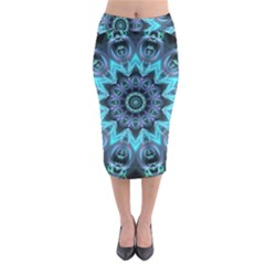 Star Connection, Abstract Cosmic Constellation Midi Pencil Skirt
