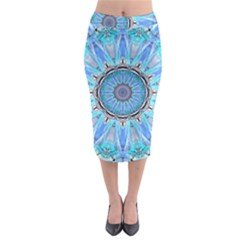 Sapphire Ice Flame, Light Bright Crystal Wheel Midi Pencil Skirt
