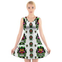 Monster Trolls In Fashion Shorts V-Neck Sleeveless Skater Dress
