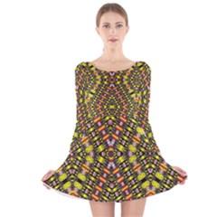 KNOTWO VAC SIGN EIGHT Long Sleeve Velvet Skater Dress