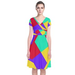 Colorful Misc Shapes                 Short Sleeve Front Wrap Dress