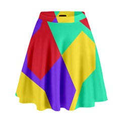 Colorful misc shapes                                                    High Waist Skirt