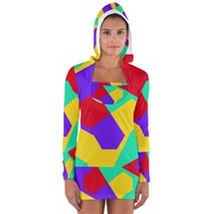 Colorful misc shapes                                                  Women s Long Sleeve Hooded T-shirt