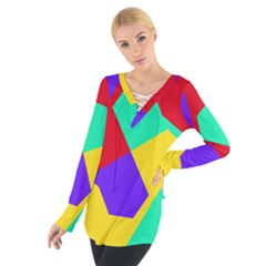 Colorful misc shapes                                                   Women s Tie Up Tee