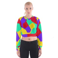 Colorful misc shapes                                                    Women s Cropped Sweatshirt