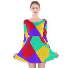 Colorful misc shapes                                                  Long Sleeve Velvet Skater Dress