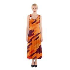 Brown orange shapes                                                    Full Print Maxi Dress