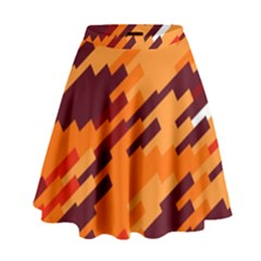 Brown orange shapes                                                      High Waist Skirt