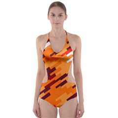 Brown Orange Shapes                                                    Cut Out One Piece Swimsuit