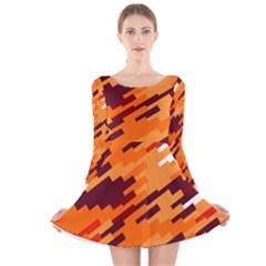 Brown orange shapes                                                    Long Sleeve Velvet Skater Dress