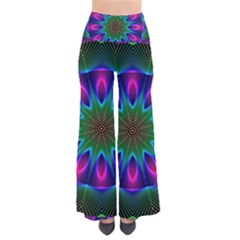 Star Of Leaves, Abstract Magenta Green Forest Pants
